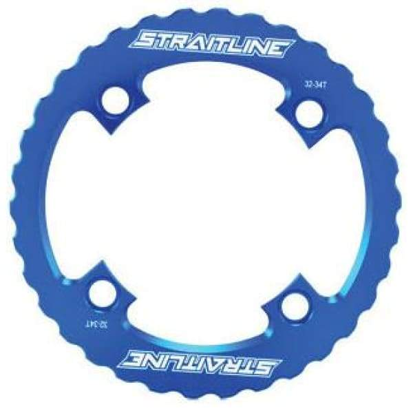 Straitline Serrated Bash Ring - 4x104mm / blue / 32-34t - Chainrings & Guards