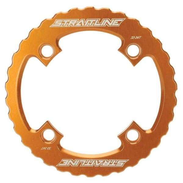 Straitline Serrated Bash Ring - 4x104mm / orange / 32-34t - Chainrings & Guards