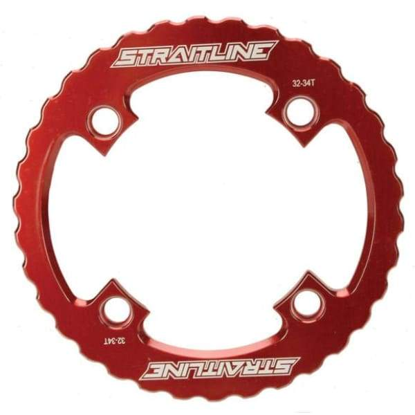 Straitline Serrated Bash Ring - 4x104mm / red / 36t - Chainrings & Guards