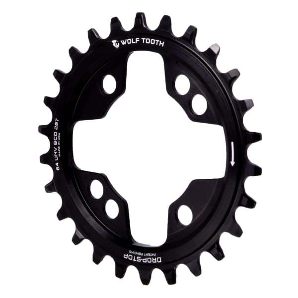 Wolf Tooth 64/104BCD Drop-Stop Chainring: Black - 26t | 4x64mm - Chainrings & Guards