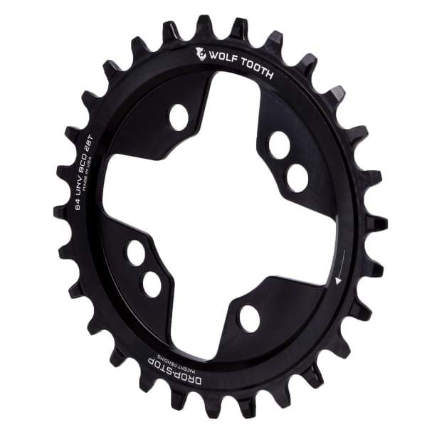 Wolf Tooth 64/104BCD Drop-Stop Chainring: Black - 28t | 4x64mm - Chainrings & Guards