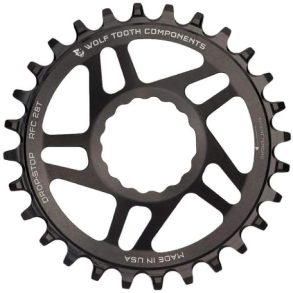Wolf Tooth Cinch Direct Mount Drop-Stop Chainring: Black - 28t - Chainrings & Guards