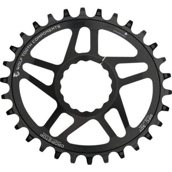 Wolf Tooth Cinch Direct Mount Drop-Stop Chainring: Black - 30t - Chainrings & Guards