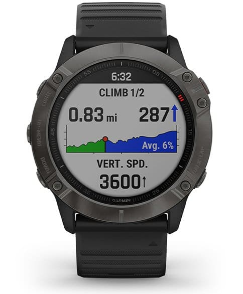 Garmin Fenix 6X Sapphire Multisport GPS Smartwatch: Carbon Gray DLC with Black Band