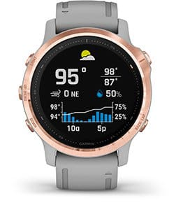 Garmin Fenix 6S Pro Multisport Watch: Rose Gold-tone with White Band