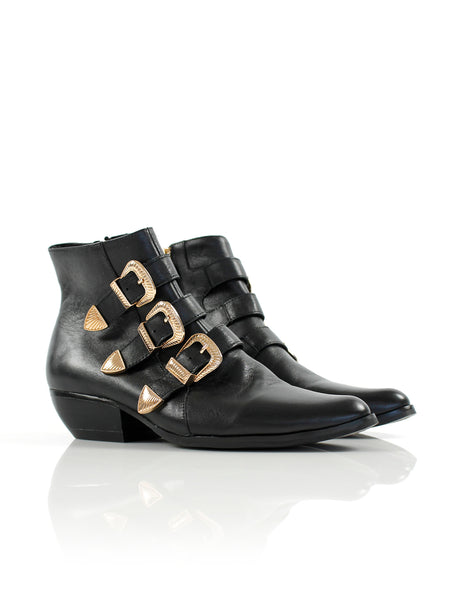Buckle Boot Black/Gold