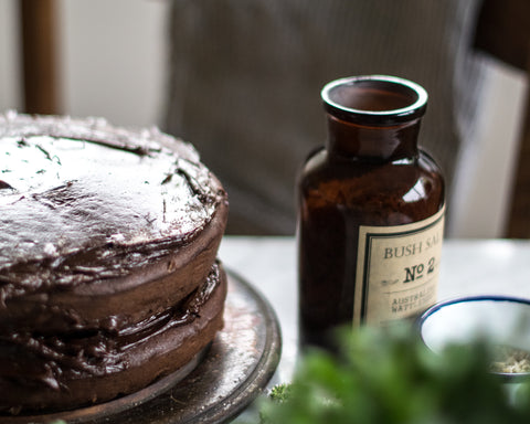 Salted dark chocolate layer cake
