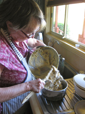 Mum making Christmas pudding.