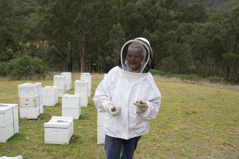 Pam Lowick of Baringa Vale, Ogunbil, suited up to inspect the hives.
