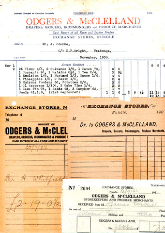 Odgers and McClelland Exchange Stores invoices