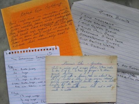 Heirloom recipes handwriting