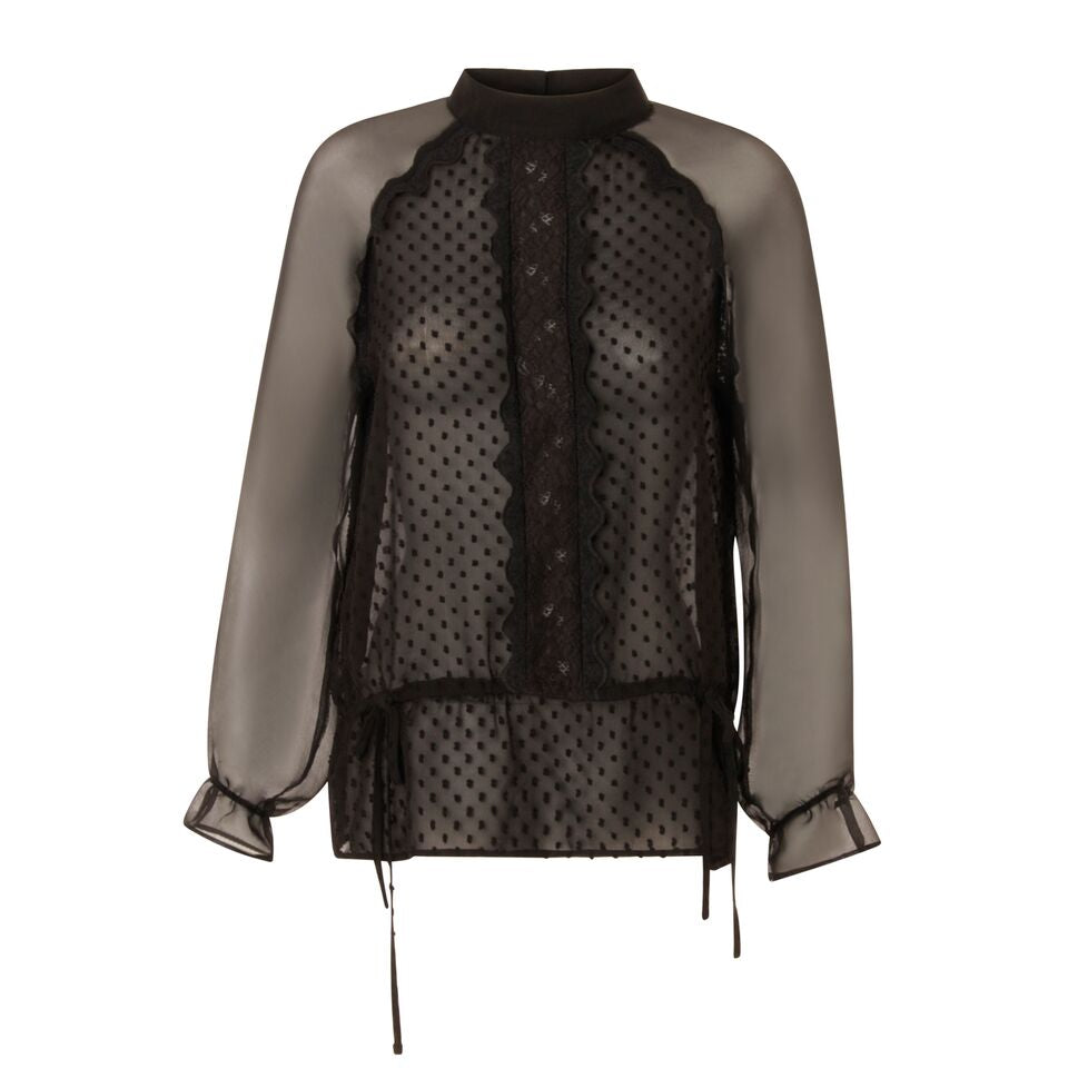 Long sleeve sheer Top in Black from Coster Copenhagen