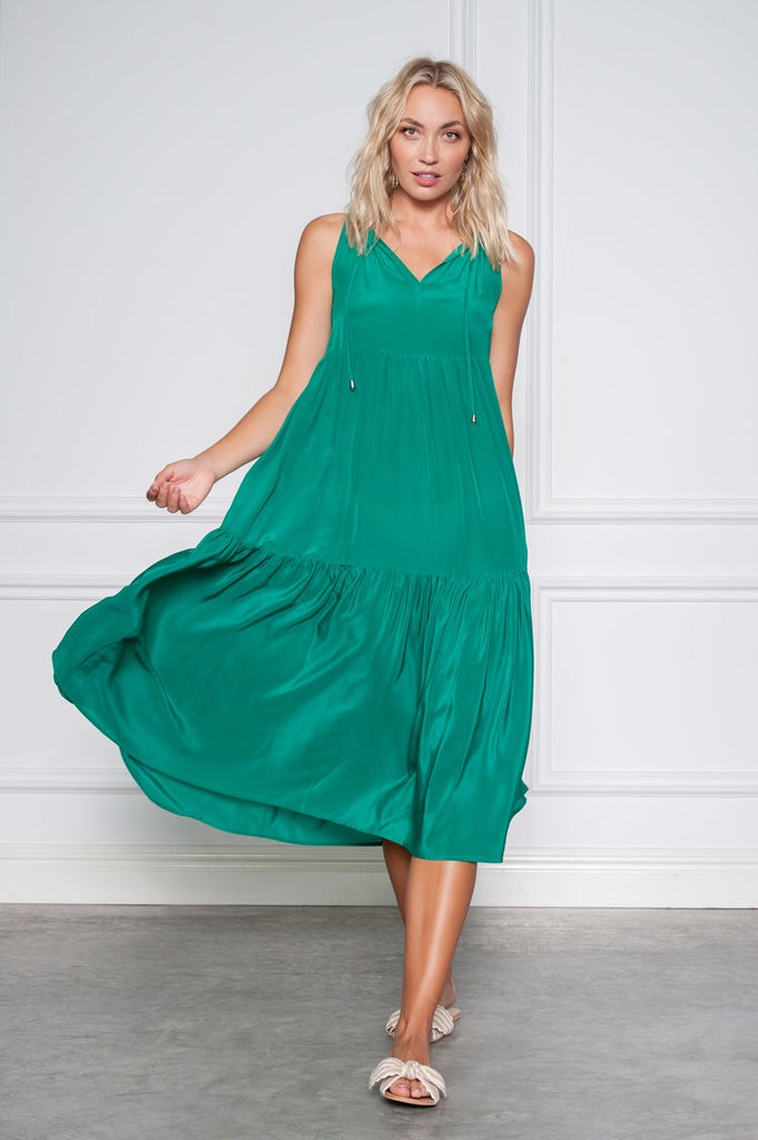Destiny Dress in emerald silk from Kamare