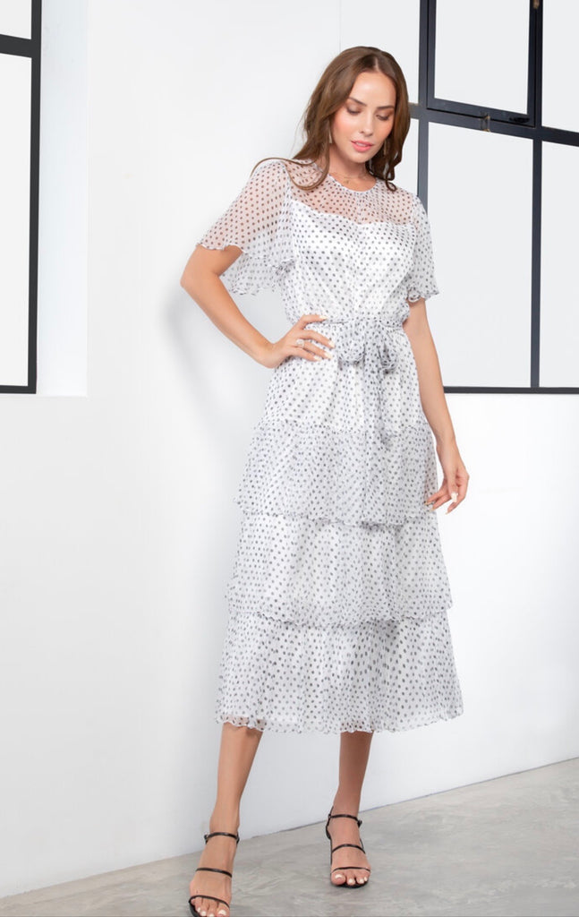 Dotty Black on white Doheny Dress in silk from Kamare