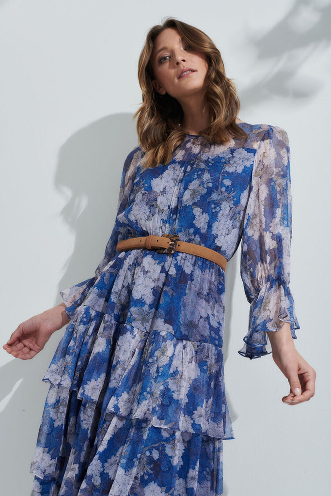 Florence Dress Blue Moon from Kamare 100% Silk