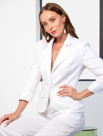 White Linen Thurlow Jacket in White from Kamare