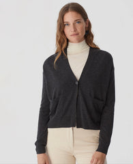 Mid Grey Jacket Cardi with woven back