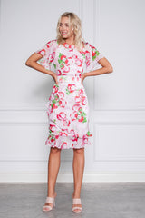 Diana Dress in pink and red floral silk from Kamare