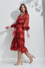 Sian dress in Red Leaves from Kamare 100% Silk