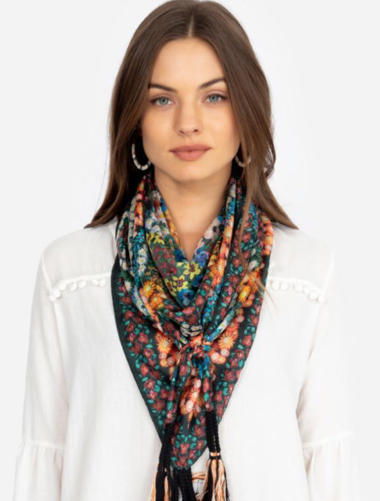 The Daisy square silk Scarf with tassels from Johnny Was
