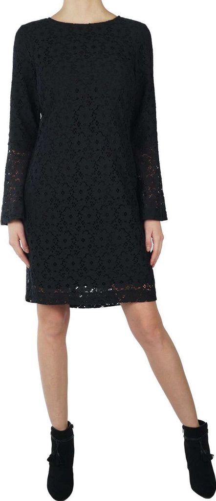 Lined lace dress with long sleeve in black from Yaya Women
