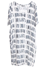 White Journal Dress Catalonia with V Neck short sleeve from Lounge The Label