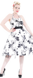 White/Black Floral Vintage Prom Dress