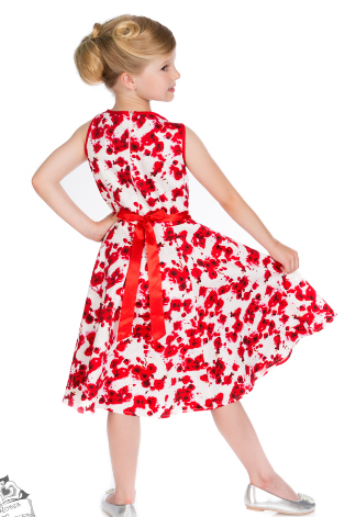 50's Red Floral Girls Dress