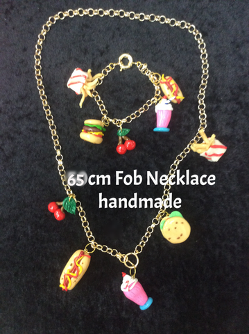 Fob charm Diner Necklace and Bracelet Set