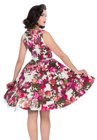 Audrey 50's Cream Floral Swing Dress - Wicked Rockabilly & Gifts - 2