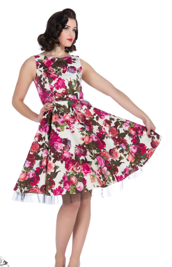 Audrey 50's Cream Floral Swing Dress - Wicked Rockabilly & Gifts - 1