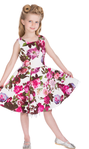 Girls Audrey 50's Cream Floral Swing  Dress - Wicked Rockabilly & Gifts - 1