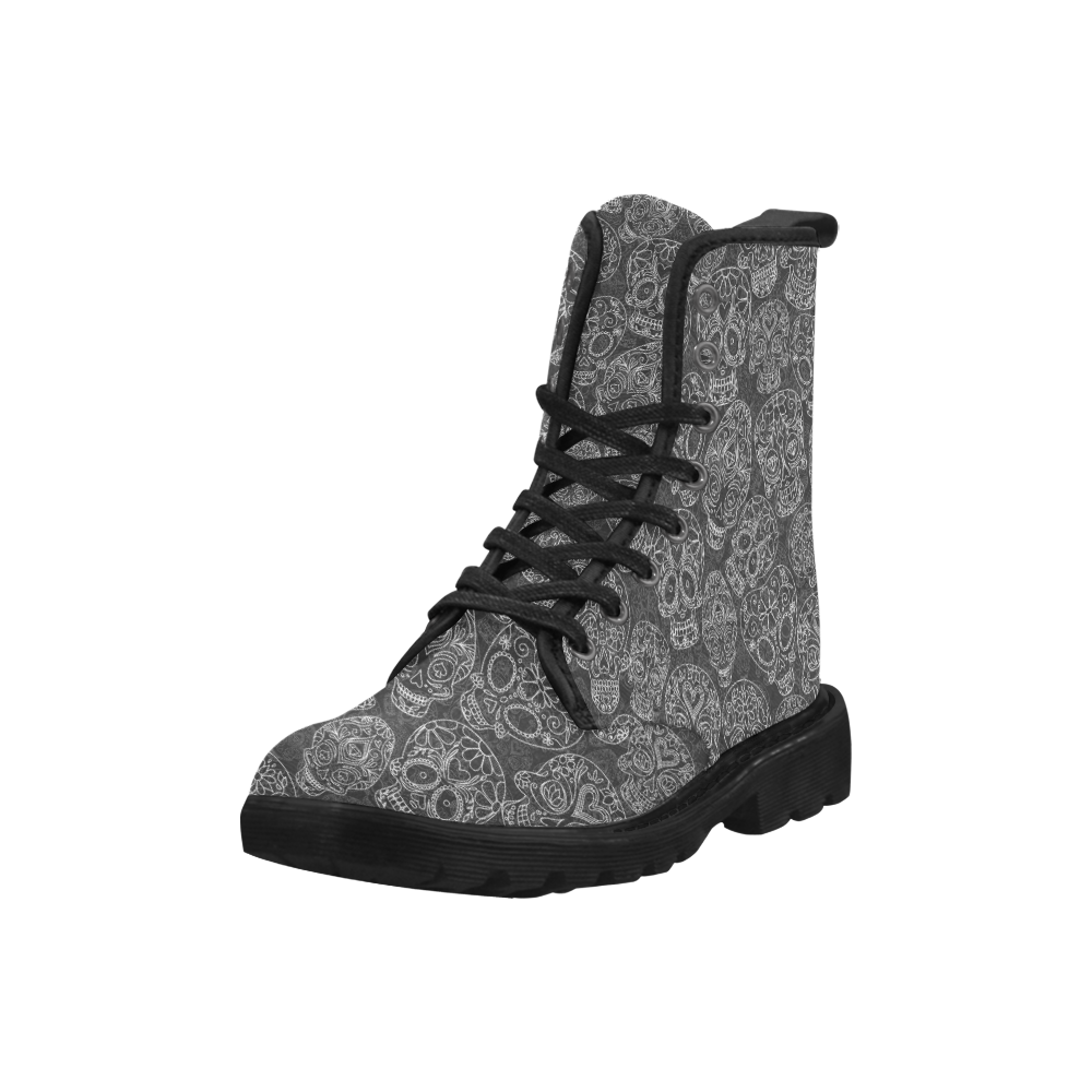 Day of the Dead Black  Womens Buskin Boots