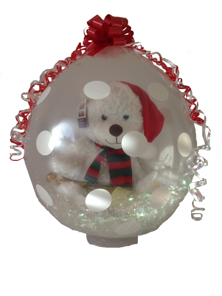 White Christmas Bear & Brown Brothers Wine Gift Balloon - AVAILABLE TO ORDER - Wicked Rockabilly & Gifts - 1