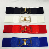 Small studded designed leather look  Bow Stretch Belt