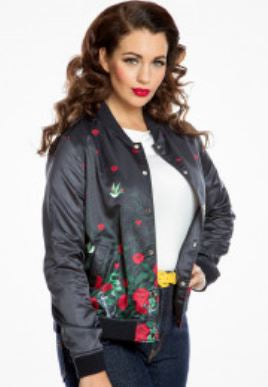 Berrie- Black Vines and Roses Bomber Jacket