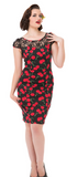 Black Bombshell Cherry Wiggle Dress - Wicked Rockabilly & Gifts - 1