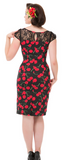 Black Bombshell Cherry Wiggle Dress - Wicked Rockabilly & Gifts - 2
