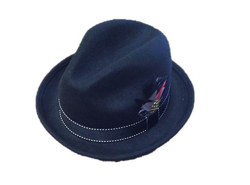 Trilby Black Felt Hat with Feather - Wicked Rockabilly & Gifts