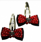 Black and Red or White  Polka Dots Cherry Hair Clips - Wicked Rockabilly & Gifts - 1