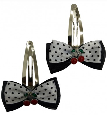 Black and Red or White  Polka Dots Cherry Hair Clips - Wicked Rockabilly & Gifts - 2