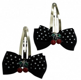Cherry Bow Small Hair Clips - selection of colours