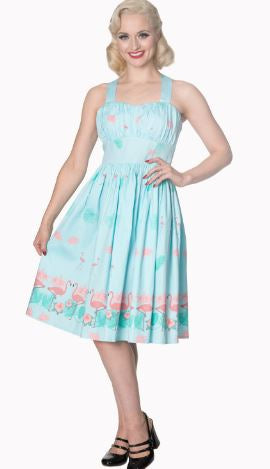 Aqua Polka Dot  Swing Skirt