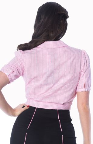 Grease Wrap Gingham Blouse