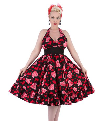 Hearts and Roses Halter Floral Rose Dress