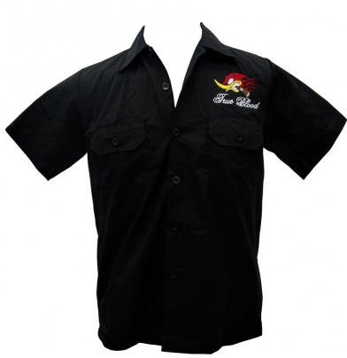 Hell Bent for Speed Embroidered Mens Work Shirt - Wicked Rockabilly & Gifts - 2