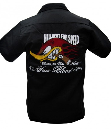 Hell Bent for Speed Embroidered Mens Work Shirt - Wicked Rockabilly & Gifts - 1