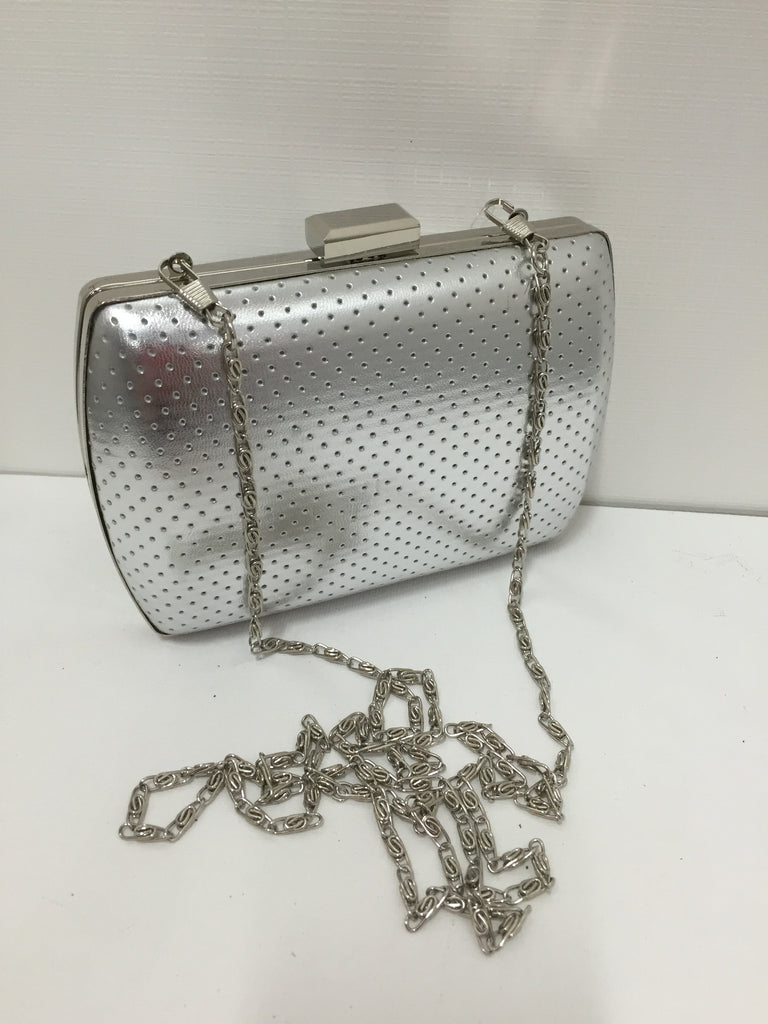 Silver Perforated  clutch