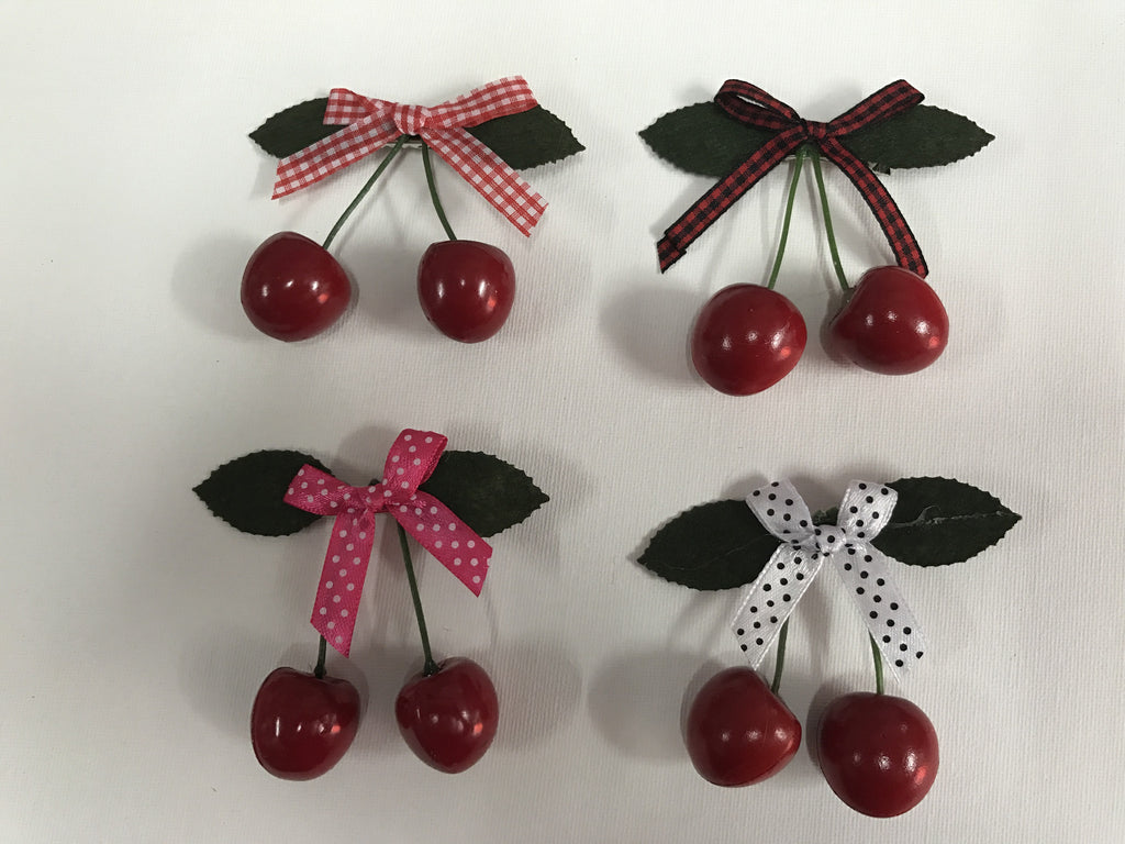 Cherry Hair Clips with Bow - assorted colours