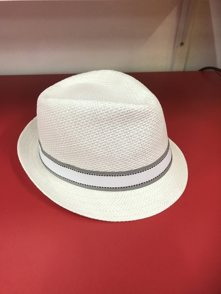 Fedora White with Grey & White Band  59cm